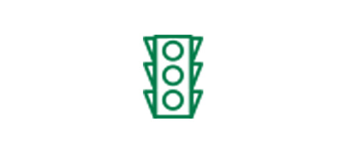 Traffic light icon indicating improved distance vision